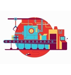 Conveyor design flat vector
