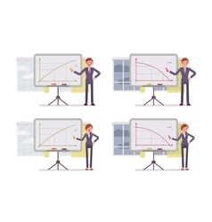 Businessmen points to positive and negative charts vector