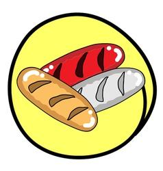 Three Fresh Bread on Round Yellow Background vector image