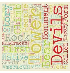 Devils tower text background wordcloud concept vector