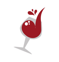 Color emblem of glass cup with wine vector