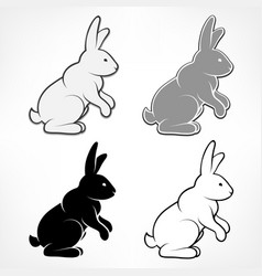 easter rabbits on white vector image