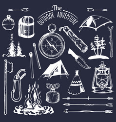 Camping sketched elements set of vintage vector