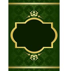 dark green elegant card with golden decor vector image
