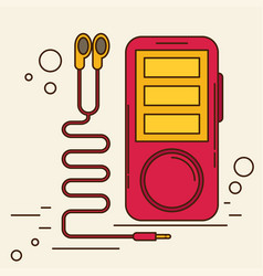 Music player with headphones flat vector