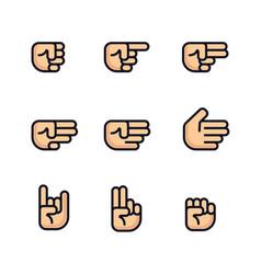 Cartoon hands set different gestures of fist vector