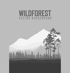 Wild coniferous forest flyer background pine tree vector
