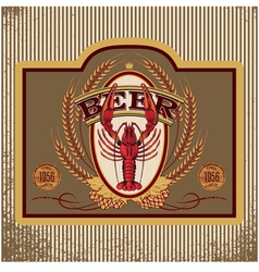 Oval label with crawfish beer vector