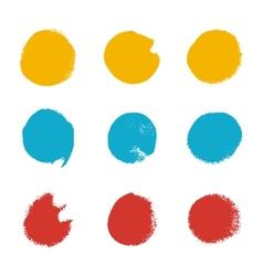 Grunge brush circle set vector image