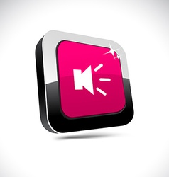 Sound 3d square button vector