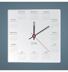 Creative calendar for 2016 in the form of hours vector