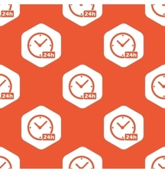 Orange hexagon 24h clock pattern vector