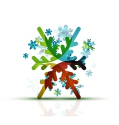 Christmas decorated modern snowflake icon vector