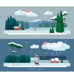 Winter landscape backgrounds set in flat style vector