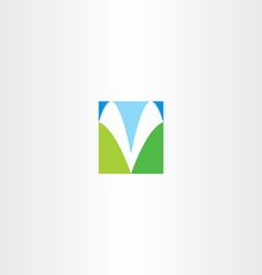 Blue green v letter icon symbol vector