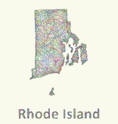 Rhode island line art map vector