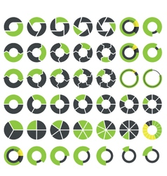 Pie charts and circular graph infographics set vector