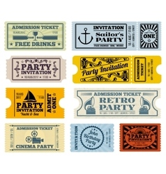 Retro party cinema invitation tickets set vector
