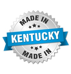 Made in kentucky silver badge with blue ribbon vector