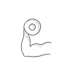 Arm with dumbbell sketch icon vector