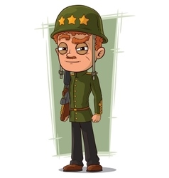 Cartoon brave soldier in green helmet vector