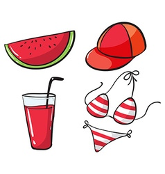 Beach set with drink and bikini vector image vector image
