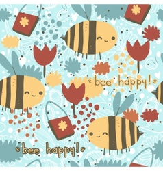 Bee happy seamless pattern vector image vector image
