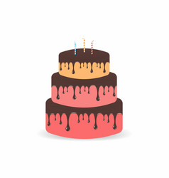 birthday cake with candles three tiers cake with vector image vector image