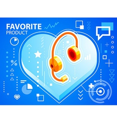 Bright heart and head phone on blue backgrou vector