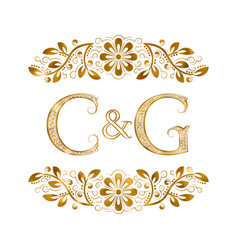 C and g vintage initials logo symbol letters c vector
