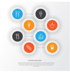 Cafe icons set collection of sorbet bowl vector