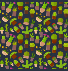 Cartoon cactus plant in pots background pattern vector