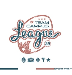 College rugby team emblem vector image