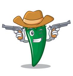cowboy green chili character cartoon vector image
