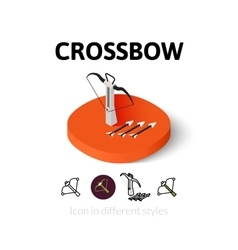 Crossbow icon in different style vector image vector image
