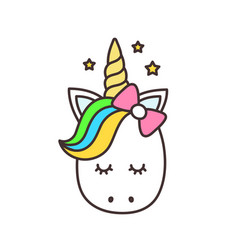 cute unicorn cartoon character vector image