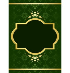 dark green elegant card with golden decor vector image