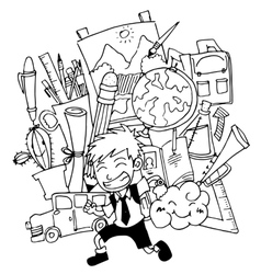 Doodle art school education student and tools vector