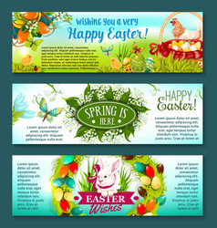 Easter egg rabbit and flowers festive banner set vector