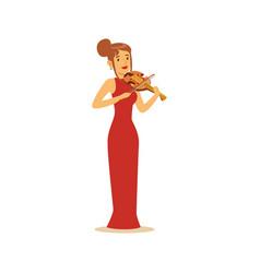elegantly dressed female musician playing violin vector image vector image