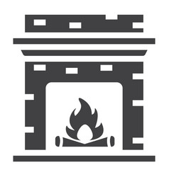 Fireplace solid icon furniture and interior vector