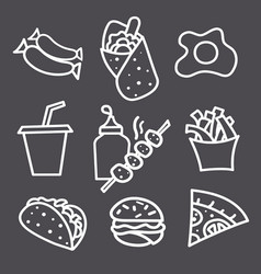 food icons and signs monochrome vector image vector image