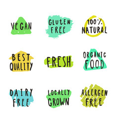 Fresh vegan natural food and drink badges vector