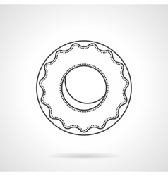 Glazed donut flat line icon vector