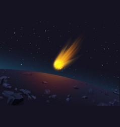 glowing comet falling to vector image vector image