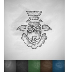 Hipster sheep icon hand drawn vector