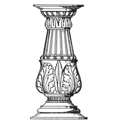 Holy water-stoup candelabrum-like shaft shell vector