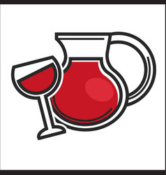 Jug and glass with drink vector