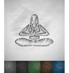 Lotus pose icon hand drawn vector