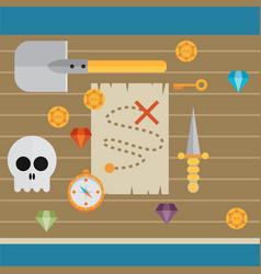 pirate icon symbol wood table background concept vector image